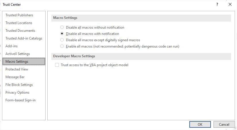 تعطيل وحدات الماكرو فى Microsoft Office