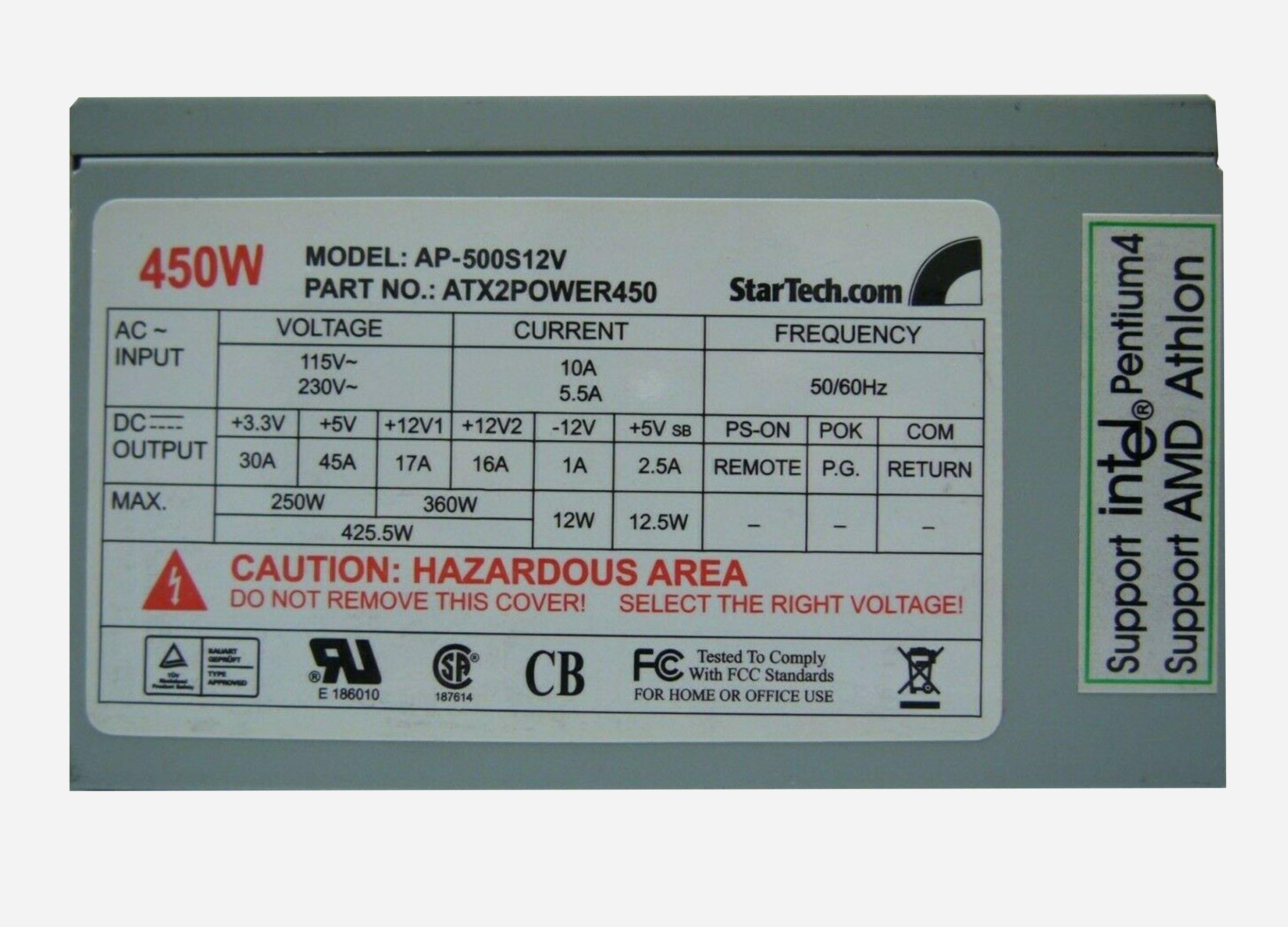 StarTech AP 500S12V Power Supply